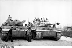 s.Pz.Abt. 501, Tiger 100 or 101 (left) and Tiger 221 (right), possibly during missions in the Orscha region of the Soviet Union about the time Major von Legat becomes commander of s.Pz.Abt. 501, late January 1944.