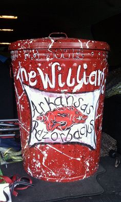 Razorback large trash can!  So cute on your deck or by your pool.  My aunt uses her can for beach towels by her pool.