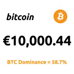 """Top News: """"... Bitcoin Price Set To Explode Once It Breaks $13,000: Prop Trader ...""""  1 Bitcoin = €10,000.44 BTC Dominance = 58.7%  #Bitcoin #BTC Investing In Cryptocurrency, Cryptocurrency Trading, Buy Bitcoin, Bitcoin Price, Rich Dad Poor Dad, Price Chart, Brave New World, The New Normal, Marketing Data"""