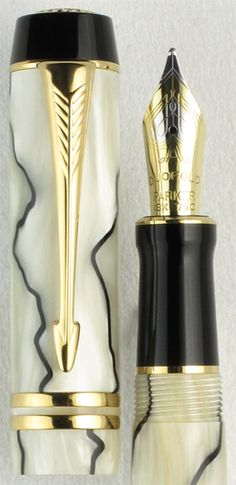 Duofold Centennial Pearl and Black with Gold Trim. An hommage to the Duofold Moderne Black and Pearl first introduced in the 1920's, the Duofold Centennial Pearl and Black with gold trim fountain pen combines classic styling with modern engineering to create a superb and eye-catching everyday writer. The marbled design shows off the attractive lines of this pen. Please call or email for current prices.