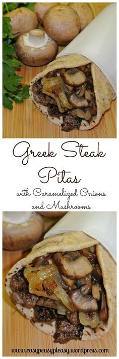 Greek Steak Pitas with Caramelized Onions and Mushrooms. 1 to 1 lb top sirloin steak, cut in thin strips 1 teaspoon dried oregano 1 teaspoon Cavender's Greek Seasoning teaspoon salt and pepper 2 large onions, sliced 8 fresh baby portabella mushroo Greek Recipes, Meat Recipes, Cooking Recipes, Healthy Recipes, Oven Recipes, Sirloin Recipes, Steak Sandwich Recipes, Steak Sandwiches, Kabob Recipes