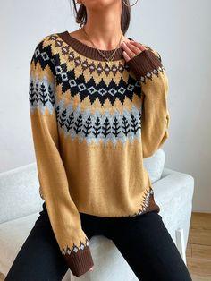 Geo Pattern Raglan Sleeve Sweater | SHEIN EUR