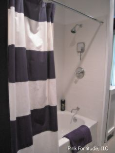 Boys Bathroom Reveal - Blue and White Rugby Stripe Shower Curtain
