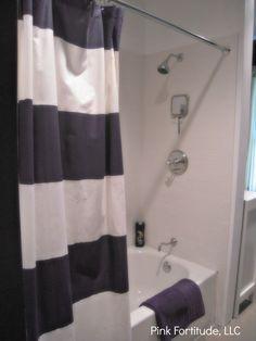 Boys Bathroom Reveal Striped Shower Curtainsfabric
