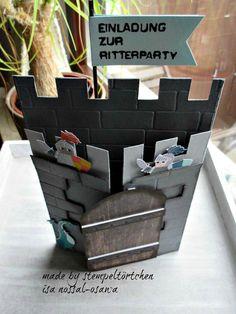 """Für meine OnStage-Schauwand ist ein Einladungskärtchen zur Ritter-Party entstanden. Aus dem süßem Designerpapier """"Märchenzauber""""habe ich ..."""