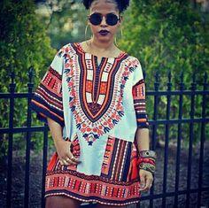 White and Orange African Dashiki Shirt Only $15