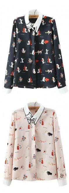 cat neckline shirt - 2 colors ,black and white; check out cute #shirts in choies.com