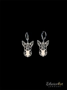Chihuahua earings  sterling silver от SiberianArtJewelry на Etsy