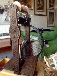 Habetrot, my new secondhand Navitas hybrid spinning wheel from Heavenly Handspinning. She has nine bobbins, is a double treadle, can spin electric or treadle, and is a real beauty IMHO! Habetrot is the Celtic Goddess of Spinning and Healing. ~Renata Bursten, 21/05/15.