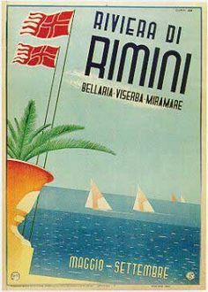 Rimini 1940 Vele sul mare. Manifesto di Gogliardo Ossani per la pubblicità della stagione. Edizione ENIT FS
