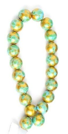 Turquoise/Gold Color Round Glass Beads - 10mm - 4 Strands of 22 beads