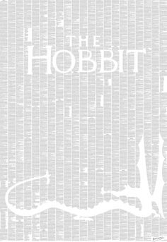 A poster made out of the entire text of The Hobbit book.