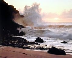 Coastal Sunset Ocean Waves Crashing on Rocky Cliffs Art Print Poster (16x20)
