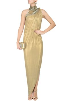GAURAV GUPTA Gold Marbling Bugle Bead Embroidered Gown