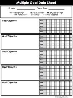 Free Special Education Data Sheets Editable