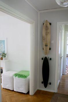 Hanging your teens longboard tutorial: I so need this - I am tired of tripping on my son's skateboard collection!