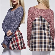 🆕AYLA plaid contrast long sleeve top -NAVY Plaid Print Contrast Long Sleeves Top. Super cute! Which girl can resist plaid? I love the combo. 🚨NO TRADE🚨 Bellanblue Tops Tees - Long Sleeve