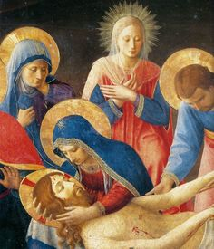 Fra Angelico-Lamentation over Christ (detail) Tempera and gold on panel Museo di San Marco, Florence Fra Angelico, Religious Images, Religious Icons, Religious Art, Renaissance Kunst, Renaissance Paintings, Italian Renaissance Art, Madonna, La Pieta