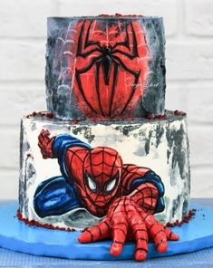 Spiderman Decorations For Cakes. Cake decorating is a great way to get in touch with your creative side and you. Spiderman Birthday Cake, Superhero Cake, Birthday Cupcakes, Men Birthday Cakes, Spiderman Cookies, Spiderman Cake Topper, Spiderman Spiderman, Party Cupcakes, Batman