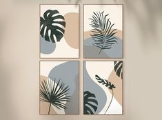 Leaf Art, Leaf Wall Art, Diy Canvas Art, Geometric Art, Botanical Art, Printable Art, Gallery Wall, Tropical Leaves, Tropical Art