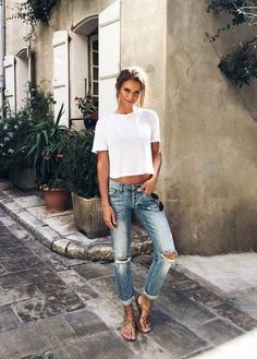 Ripped denim and t-shirt: