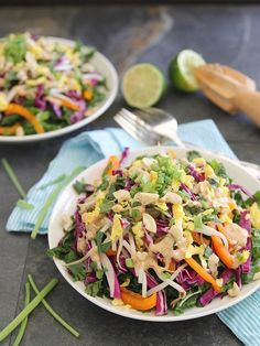 Pad Thai Salad - I made so much of it that I ate it for 3 days straight and now that it's gone, I'm still craving more. Added garlic chicken and cashews for protein.