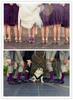 Purple! Love that the brides' wearing color shoes and the bridesmaids white. Love the purple socks!