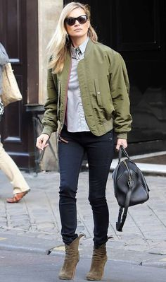 Kate Moss Does Classic London Cool in a Military-Inspired Bomber – Vogue - Louis  Vuitton bomber ce2269029b8