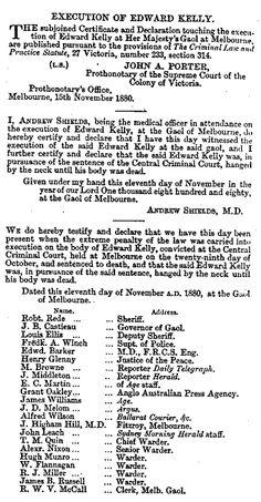 Execution Notice de Ned Kelly