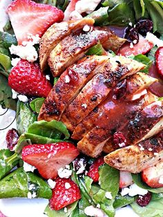 blackened chicken and strawberry salad with Strawberry Balsamic dressing.