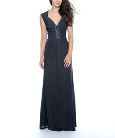 Simple elegance!!!   Navy Embellished Cap-Sleeve Dress - Women by Decode 1.8 on #zulily today!