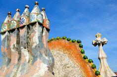 The top of Casa Batlló , Barcelona, Spain