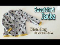 Sweatshirt Jacke - Nähen OHNE Schnittmuster - Anfänger - Nähtinchen - YouTube