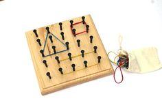 Montessori Rubber Band Geoboard - Waldorf Wooden Toy - Preschool Homeschool…