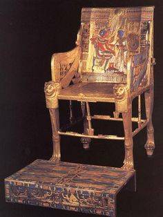 Ancient Egyptian Furniture, the legs of the chair all face in one direction, similar to a lion.