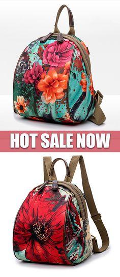 HOT SALE  Flower Pattern Backpack Nylon Shoulder Bag 08a174756f105