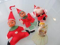 Vintage Lot Christmas Ornaments 1960s Elves by MemphisNanney, $10.50