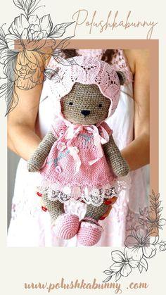 Shabby Chic Teddy Clothes Knitted Pattern by Polushkabunny Crochet Teddy, Crochet Toys, Teddy Bear Knitting Pattern, Knitted Teddy Bear, Teddy Bear Toys, Amigurumi Patterns, Crochet Patterns, Knitting Patterns, Crafty