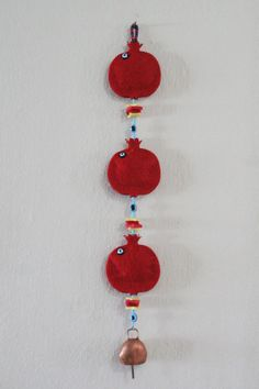 Items similar to Handmade Turkish Felt Boho Bohemian Pomegranate Wall Door Hanging with Evil Eye Beads Good Luck Charm Amulet with Goat Bell on Etsy - tabea Felt Crafts, Diy And Crafts, Crafts For Kids, Arts And Crafts, Paper Crafts, Pomegranate Art, Drawing Lessons For Kids, Quilled Paper Art, Diy Ribbon