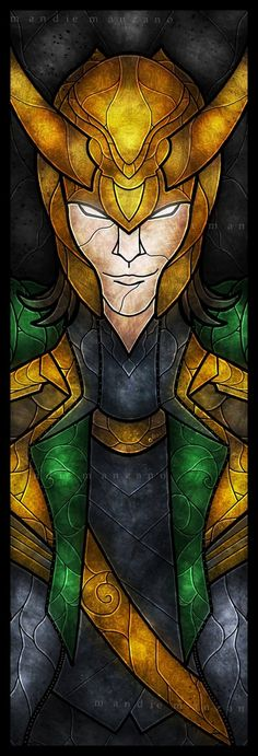 """Loki """"Stained Glass"""" that could be adapted to be a pattern"""