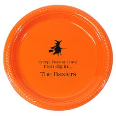 Personalized Flying Witch Plastic Plates  sc 1 st  Pinterest & Personalized Pumpkin Plastic Plates   The Stationery Studio ...