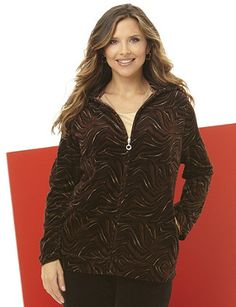 Wildly attractive, this zip-front jacket comes in a bold, tiger print and features soft, velour fabric. Finished with long sleeves, spacious hip pockets and a fitted, banded hem. Catherines jackets are styled exclusively for the plus size woman. catherines.com