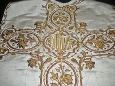 Antique 19thC Chasuble ~Magnificent Goldwork Embroidery Back and Front~