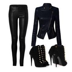 sexy biker chick look <3 need pants/ leggings like that!