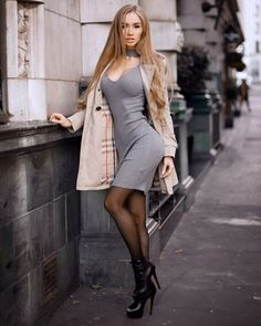 Modeling Wolford Neon Glanz Mocca Pantyhose Tights