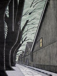 (Japan) Cherry Blossoms by Ray Morimura (1948-   ). woodblock print.