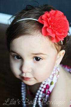 Strawberry Coral Rosette Baby Headband by LilusBabyBowtique, $6.50