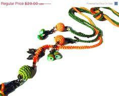 Crochet lariat necklace. Orange Green multi strand by NMNHANDMADE, $21.75
