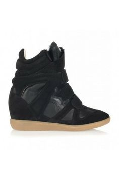 Isabel Marant Wedge Black Suede Beckett Sneaker