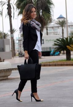 Classic look- black pants, white shirt, blazer and scarf.